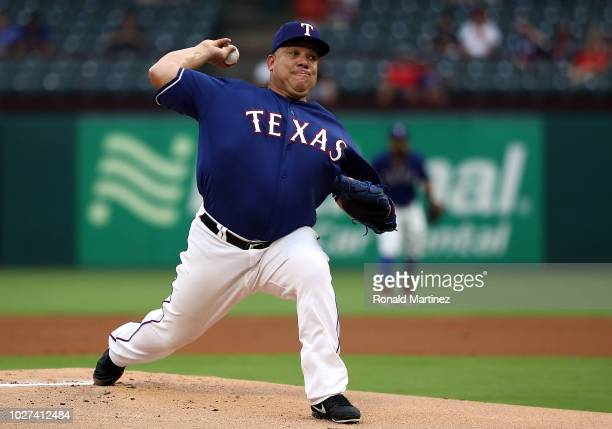 Bartolo Colon of the Texas Rangers throws against the Los Angeles Angels in the first inning at Globe Life Park in Arlington on September 5 2018 in...