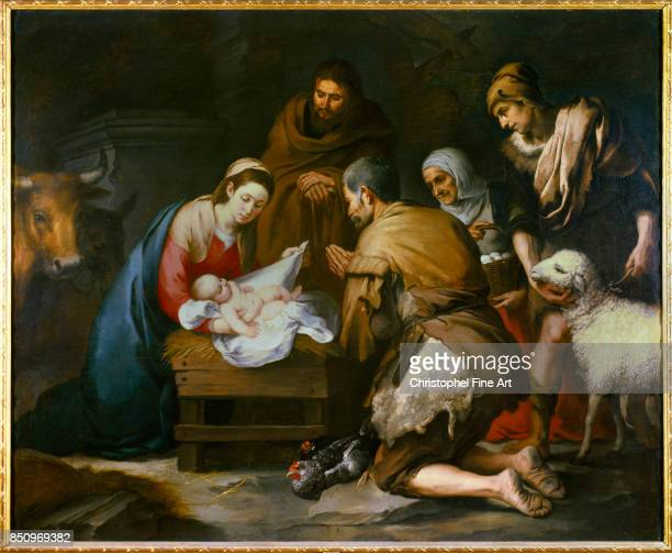 Bartolome Murillo The Adoration of the Shepherds Circa 1650 Oil on canvas 187 x 228 m Madrid museo del Prado