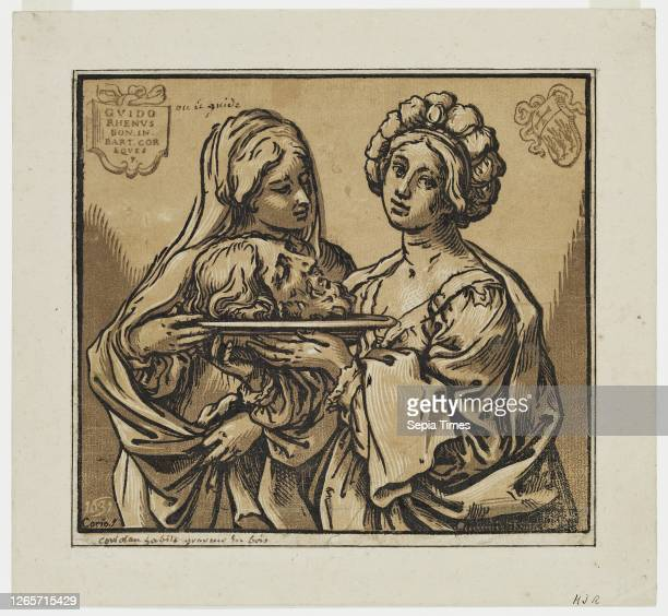Bartolomeo Coriolano, Italian, 1599-1676, after Guido Reni, Italian, 1575-1642, Herodias and Salome with the Head of John the Baptist chiaroscuro...