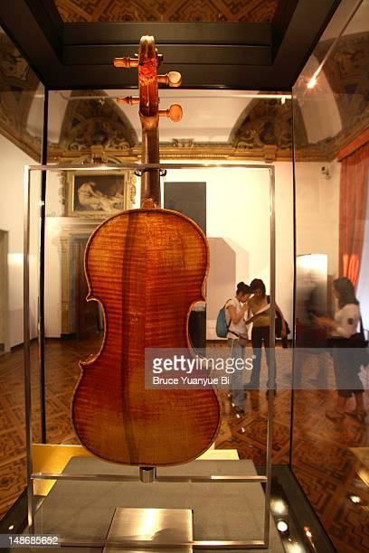 Bartolomeo Giuseppe Guarneri-made violin 'Cannone' formerly belonging to Niccolo Paganini, now shown to public in Paganini Hall.