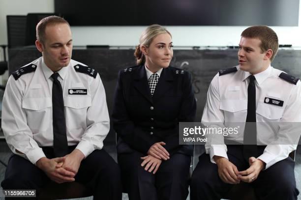 "Bartosz ""Bartek"" Tchorzewski, PC Mia Kerr and PC Sam Balfour at a London Bridge inquest pool interview, at Scotland Yard on June 19, 2019 in London,..."