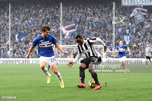 Bartosz Bereszynski and Kwadwo Asamoah during the Serie A match between UC Sampdoria and Juventus at Stadio Luigi Ferraris on November 19 2017 in...