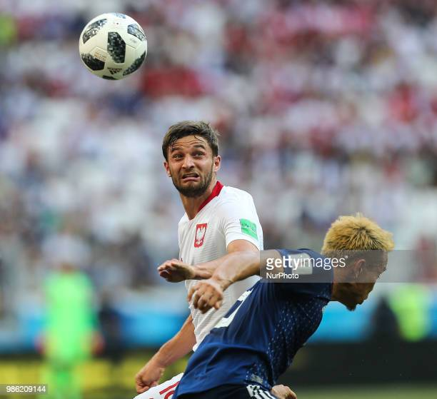 Bartosz Bereszynski during the 2018 FIFA World Cup Russia group H match between Japan and Poland at Volgograd Arena on June 28 2018 in Volgograd...