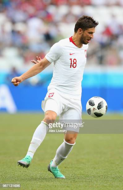 Bartosz Bereszynski of Poland controls the ball during the 2018 FIFA World Cup Russia group H match between Japan and Poland at Volgograd Arena on...