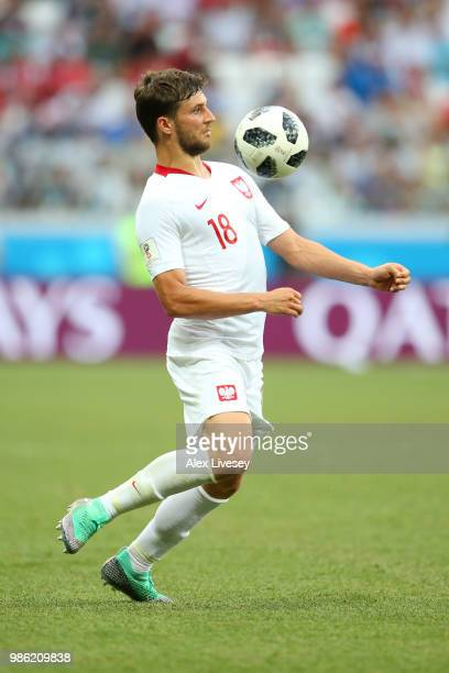 Bartosz Bereszynski of Poland in action during the 2018 FIFA World Cup Russia group H match between Japan and Poland at Volgograd Arena on June 28...