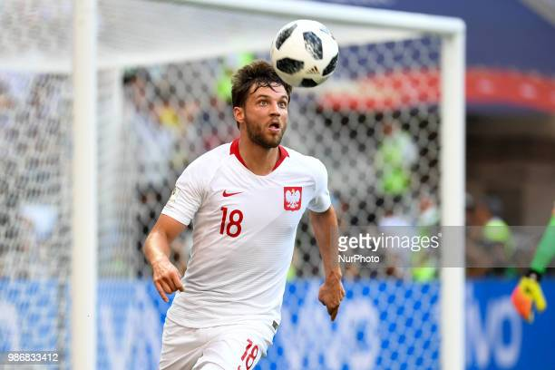 Bartosz Bereszynski of Poland in action during the 2018 FIFA World Cup Group H match between Japan and Poland at Volgograd Arena in Volgograd Russia...