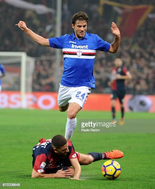 Bartosz Bereszynski of Sampdoria and Adel Taarabt of Genoa during the Serie A match between Genoa CFC and UC Sampdoria at Stadio Luigi Ferraris on...