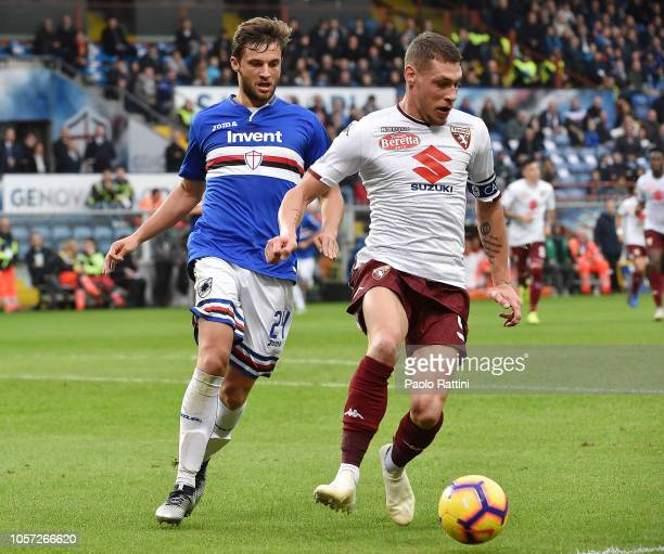 Bartosz Bereszynski of Sampdoria and Andrea Belotti of Torino during the Serie A match between UC Sampdoria and Torino FC at Stadio Luigi Ferraris on...