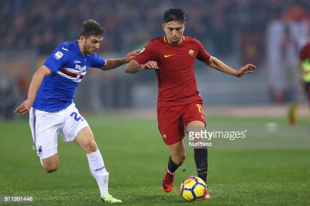 Bartosz Bereszynski of Sampdoria and Cengiz Under of Roma during the Italian Serie A football match between AS Roma and Sampdoria at the Olympic...