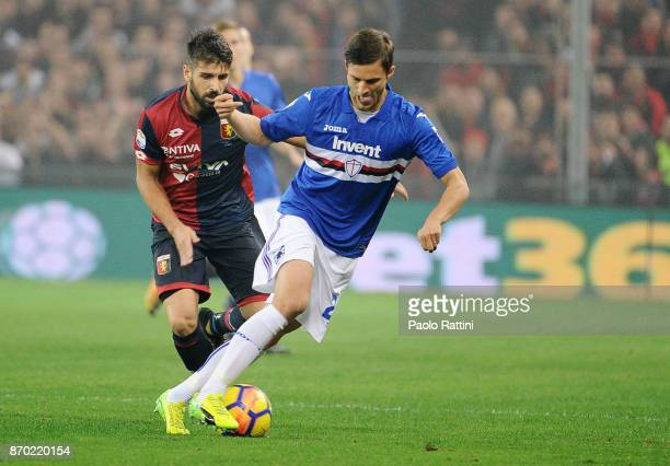 Bartosz Bereszynski of Sampdoria and Miguel Veloso of Genoa during the Serie A match between Genoa CFC and UC Sampdoria at Stadio Luigi Ferraris on...