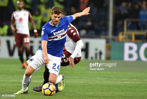 Bartosz Bereszynski of Sampdoria in action during the serie A match between UC Sampdoria and Torino FC at Stadio Luigi Ferraris on February 3 2018 in...