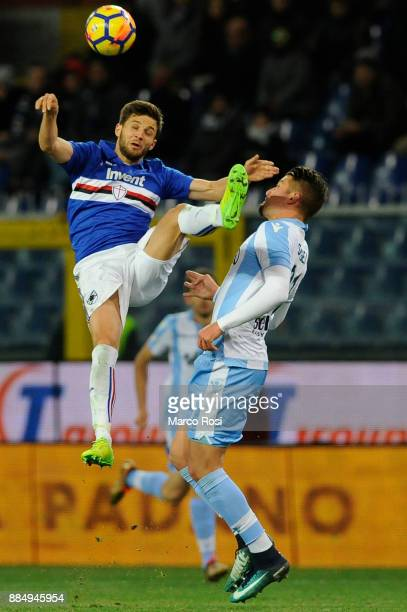 Bartosz Bereszynski of UC Sampdoria compete for the ball with Sergej Milinkovic Savic of SS Lazio during the Serie A match between UC Sampdoria and...