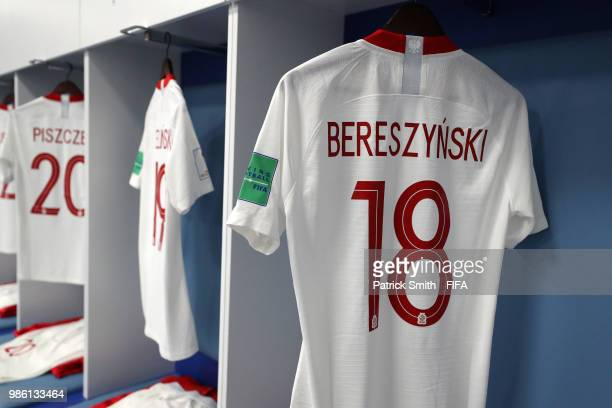 Bartosz Bereszynski's shirt hangs inside the Poland dressing room prior to the 2018 FIFA World Cup Russia group H match between Japan and Poland at...