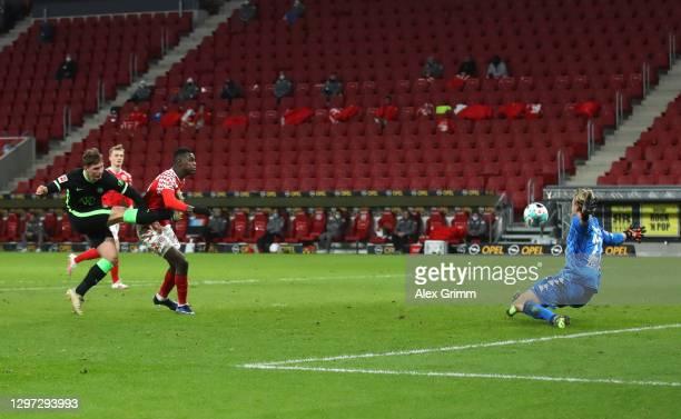 Bartosz Bialek of Vfl Wolfsburg scores their side's first goal during the Bundesliga match between 1. FSV Mainz 05 and VfL Wolfsburg at Opel Arena on...