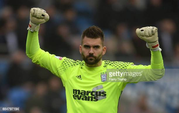 Bartosz Bialkowski celebrates his side's first goal during the Sky Bet Championship match between Cardiff City and Ipswich Town at the Cardiff City...