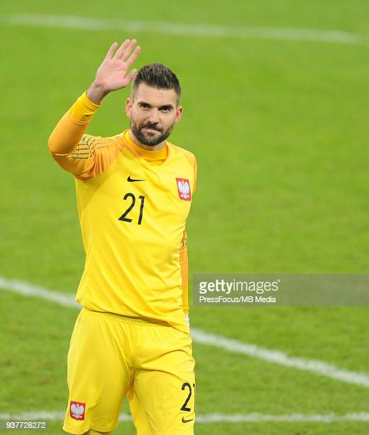 Bartosz Bialkowski goalkeeper of Poland gestures during the international friendly match between Poland and Nigeria at the Municipal Stadium on March...