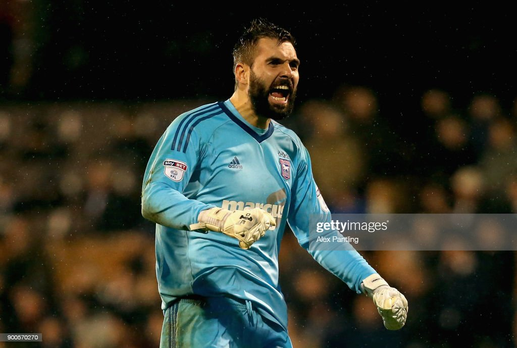 Bartosz Bialkowski of Ipswich celebrates after his side score their first during the Sky Bet Championship match between Fulham and Ipswich Town at Craven Cottage on January 2, 2018 in London, England.