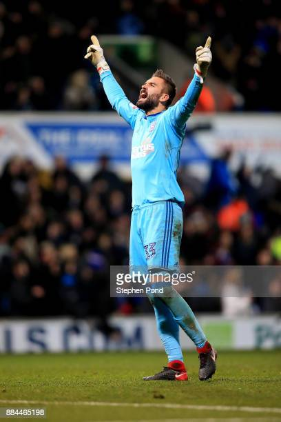 Bartosz Bialkowski of Ipswich Town celebrates a goal during the Sky Bet Championship match between Ipswich Town and Nottingham Forest at Portman Road...
