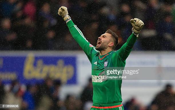 Bartosz Bialkowski of Ipswich Town celebrates victory at the end of the Sky Bet Championship match between Ipswich Town and Nottingham Forest at...