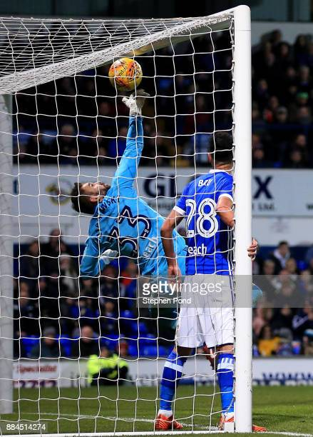 Bartosz Bialkowski of Ipswich Town clears the ball off the line during the Sky Bet Championship match between Ipswich Town and Nottingham Forest at...