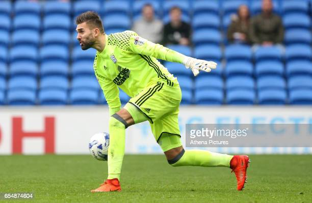 Bartosz Bialkowski of Ipswich Town distributes the ball during the Sky Bet Championship match between Cardiff City and Ipswich Town at The Cardiff...