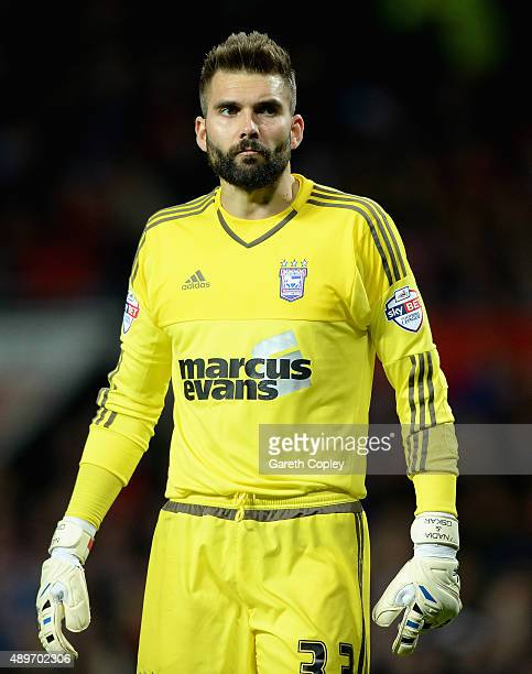 Bartosz Bialkowski of Ipswich Town during the Capital One Cup Third Round match between Manchester United and Ipswich Town at Old Trafford on...