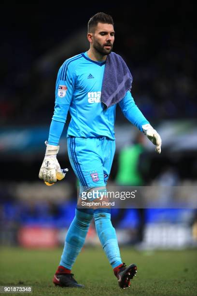 Bartosz Bialkowski of Ipswich Town leaves the field dejected during the Emirates FA Cup third round match between Ipswich Town and Sheffield United...