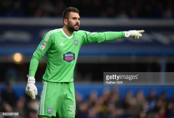 Bartosz Bialkowski of Ipswich Town looks on during the Sky Bet Championship match between Birmingham City and Ipswich Town at St Andrews on March 31...