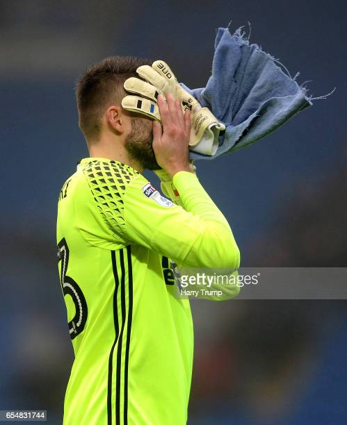 Bartosz Bialkowski of Ipswich Town reacts at the final whistle during the Sky Bet Championship match between Cardiff City and Ipswich Town at the...