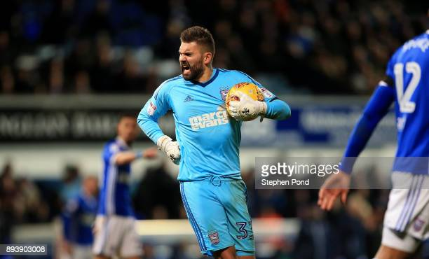 Bartosz Bialkowski of Ipswich Town reacts during the Sky Bet Championship match between Ipswich Town and Reading at Portman Road on December 16 2017...