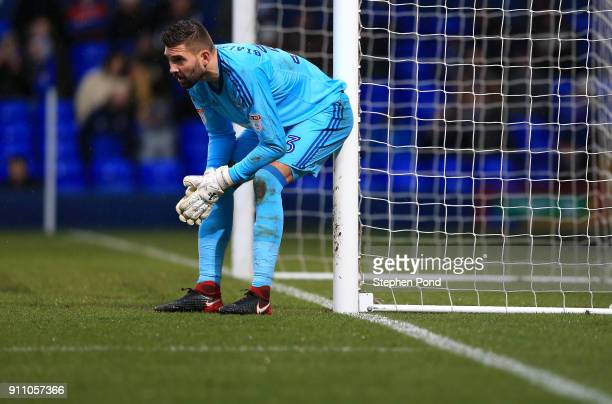 Bartosz Bialkowski of Ipswich Town reacts during the Sky Bet Championship match between Ipswich Town and Wolverhampton Wanderers at Portman Road on...