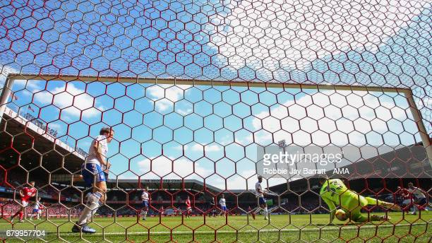 Bartosz Bialkowski of Ipswich Town saes a shot during the Sky Bet Championship match between Nottingham Forest and Ipswich Town at City Ground on May...