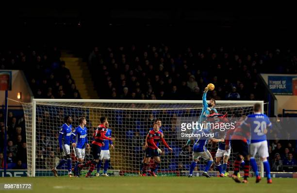 Bartosz Bialkowski of Ipswich Town tips the ball over the crossbar during the Sky Bet Championship match between Ipswich Town and Queens Park Rangers...