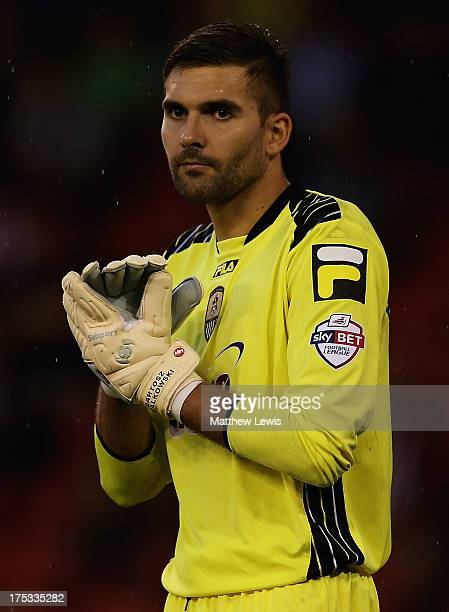 Bartosz Bialkowski of Notts County in action during the Sky Bet League One match between Sheffield United and Notts County at Bramall Lane on August...