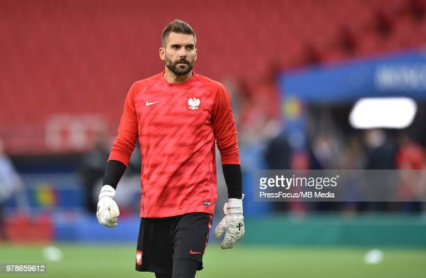 Bartosz Bialkowski of Poland during warm up before the 2018 FIFA World Cup Russia group H match between Poland and Senegal at Spartak Stadium on June...