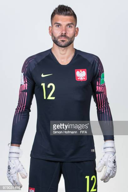 Bartosz Bialkowski of Poland poses during the official FIFA World Cup 2018 portrait session at Hyatt Regency Hotel on June 14 2018 in Sochi Russia
