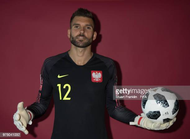 Bartosz Bialkowski of Poland poses for a photograph during the official FIFA World Cup 2018 portrait session at on June 14 2018 in Sochi Russia