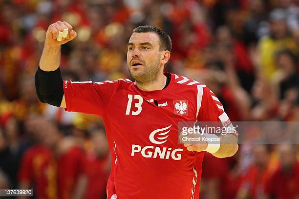 Bartosz Jurecki of Poland celebrates a goal during the Men's European Handball Championship second round group one match between Poland and Macedonia...