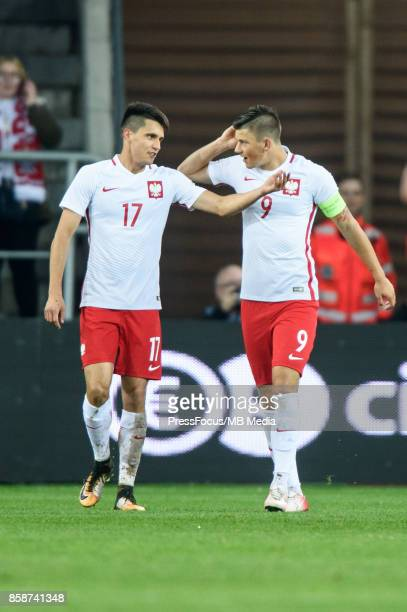Bartosz Kapustka and Dawid Kownacki of Poland during the 2019 UEFA European Under21 Championship qualification game between Poland and Finland on...