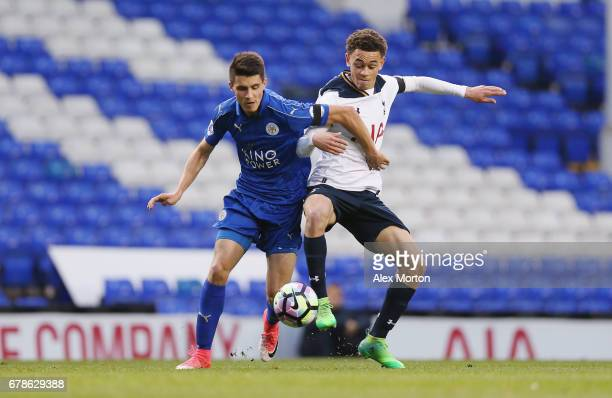 Bartosz Kapustka of Leicester and Luke Amos of Tottenham during the Premier League 2 match between Tottenham Hotspur and Leicester City at White Hart...