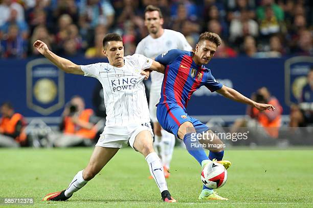Bartosz Kapustka of Leicester City in action during the International Champions Cup match between Leicester City and Barcelona at the Friends Arena...