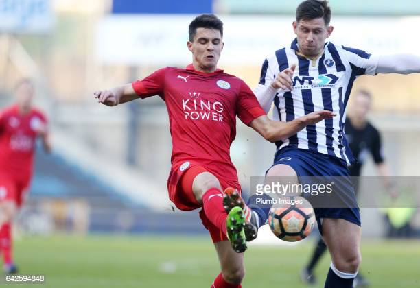 Bartosz Kapustka of Leicester City in action with Calum Butcher of Millwall during of The Emirates FA Cup Fifth Round tie between Millwall and...