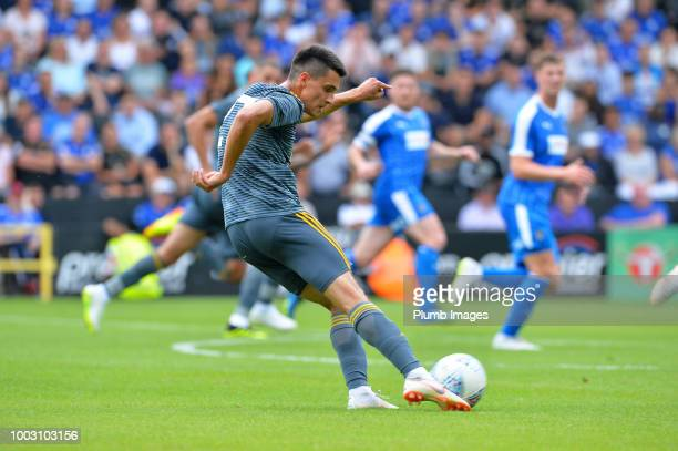 Bartosz Kapustka of Leicester City kicks the ball during the preseason friendly match between Notts County and Leicester City at Meadow Lane on July...