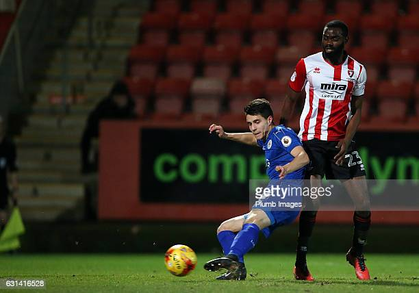Bartosz Kapustka of Leicester City scores to make it 11 during the EFL Checkatrade Trophy Second Round tie between Cheltenham Town and Leicester City...