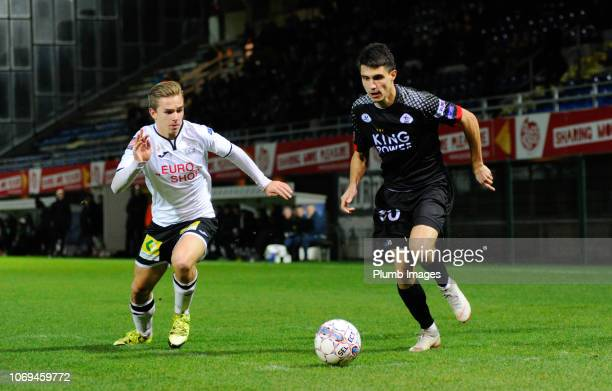 Bartosz Kapustka of OH Leuven in action with Arthur Devos of KSV Roeselare during the Proximus League match between KSV Roeselare and OH Leuven at...