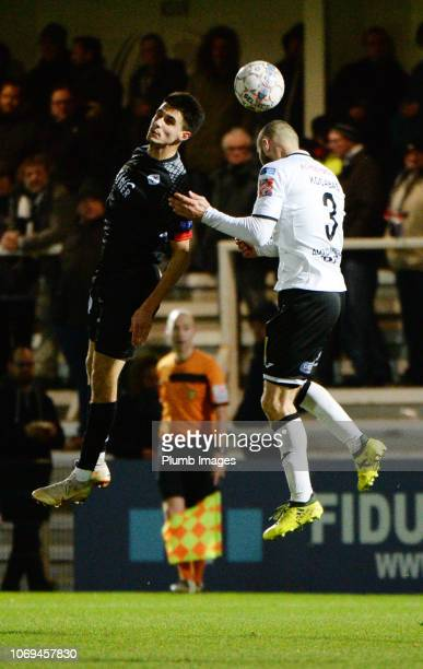 Bartosz Kapustka of OH Leuven in action with Fazli Kocabas of KSV Roeselare during the Proximus League match between KSV Roeselare and OH Leuven at...