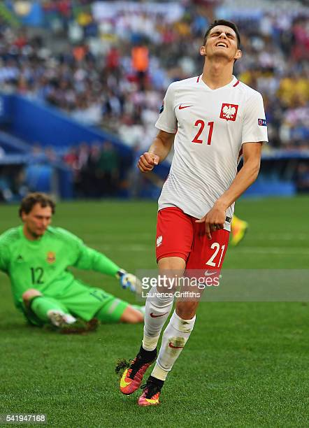 Bartosz Kapustka of Poland in despair after missing a chance during the UEFA EURO 2016 Group C match between Ukraine and Poland at Stade Velodrome on...