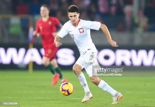 Bartosz Kapustka of Poland U21 in action during the European Under21 Championship Qualifier match between Poland U21 and Portugal U21 on November 16...