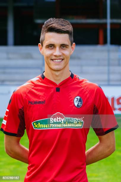 Bartosz Kapustka of SC Freiburg poses during the team presentation at SchwarzwaldStadion on August 1 2017 in Freiburg im Breisgau Germany