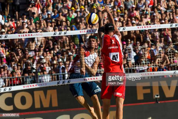 Bartosz Losiak of Poland competes against Clemens Doppler of Austria during Day 9 of the FIVB Beach Volleyball World Championships 2017 on August 5...
